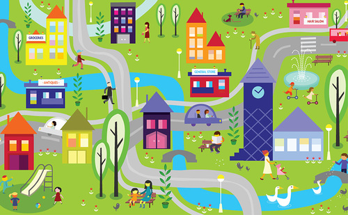 colourful graphic of neighbourhood